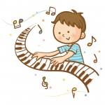 ピアノを弾く男子園児
