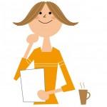 書類を持ち考える保育士の女性