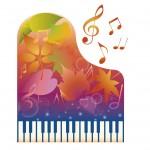 秋色のピアノのイラスト