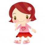 お花の髪飾りを付けた保育園児の女の子