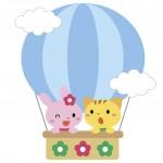 気球に乗った動物のイラスト