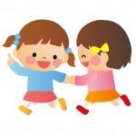 仲良く遊ぶ女児のイラスト