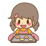 女の子がクッキーを焼くイラスト