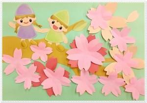 桜の壁面装飾