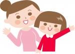 親子で手を振っているイラスト